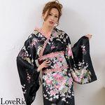 <Love Rich>レースフリルリボン付きロングサテン花魁着物ドレス (黒/ピンクレース)(衣装・コスチューム)