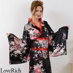 <Love Rich>レースフリルリボン付きロングサテン花魁着物ドレス (黒/赤レース)(衣装・コスチューム)
