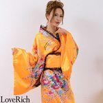<Love Rich>レースフリルリボン付きロングサテン花魁着物ドレス (オレンジ)(衣装・コスチューム)