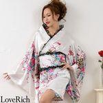 <Love Rich>レースフリルリボン付きミニ丈サテン花魁着物ドレス (白)(衣装・コスチューム)