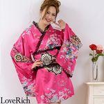 <Love Rich>レースフリルリボン付きミニ丈サテン花魁着物ドレス (チェリー)(衣装・コスチューム)