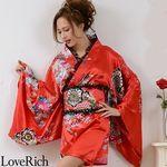 <Love Rich>レースフリルリボン付きミニ丈サテン花魁着物ドレス (赤)(衣装・コスチューム)