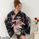 <Love Rich>レースフリルリボン付きミニ丈サテン花魁着物ドレス (黒/ピンク)(衣装・コスチューム)