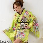 <Love Rich>レースフリルリボン付きミニ丈サテン花魁着物ドレス (イエローグリーン)(衣装・コスチューム)