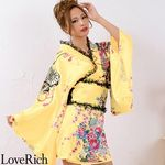 <Love Rich>レースフリルリボン付きミニ丈サテン花魁着物ドレス (イエロー)(衣装・コスチューム)