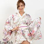 <Love Rich>ゴールドパイピングフリルサテンミニ花魁着物ドレス (白)(衣装・コスチューム)