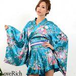 <Love Rich>ゴールドパイピングフリルサテンミニ花魁着物ドレス (ブルー)(衣装・コスチューム)