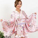 <Love Rich>ゴールドパイピングフリルサテンミニ花魁着物ドレス (ピンク)(衣装・コスチューム)