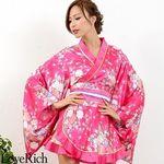 <Love Rich>ゴールドパイピングフリルサテンミニ花魁着物ドレス (チェリー)(衣装・コスチューム)