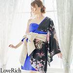 <Love Rich>和柄着物ドレス 花魁コスプレ キャバドレス (ブラックロイヤルブルー)(衣装・コスチューム)