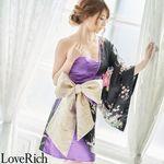 <Love Rich>和柄着物ドレス 花魁コスプレ キャバドレス (ブラックパープル)(衣装・コスチューム)
