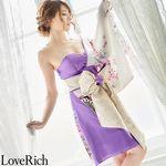 <Love Rich>和柄着物ドレス 花魁コスプレ キャバドレス (ホワイトパープル)(衣装・コスチューム)