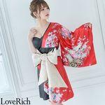 <Love Rich>和柄着物ドレス 花魁コスプレ キャバドレス (レッドブラック)(衣装・コスチューム)