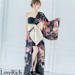 <Love Rich>レース&フラワーロング着物ドレス花魁コスプレ キャバドレス (ブラック)(衣装・コスチューム)