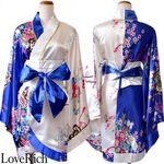 <Love Rich>着物ミニドレス 和柄 花魁コスプレ キャバドレス (ホワイトブルー)(衣装・コスチューム)