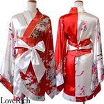 <Love Rich>着物ミニドレス 和柄 花魁コスプレ キャバドレス (レッドホワイト)(衣装・コスチューム)