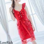 <Love Rich>花柄刺繍フリルリボンミニドレス パールボタン立体花キャバドレス(レッド)(衣装・コスチューム)