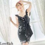 <Love Rich>花柄刺繍フリルリボンミニドレス パールボタン立体花キャバドレス(ブラック)(衣装・コスチューム)