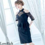 <Love Rich>レース使用のミニドレス パーティードレス キャバドレス(ブラック)(衣装・コスチューム)