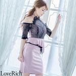 <Love Rich>レース使用のミニドレス パーティードレス キャバドレス(ピンク)(衣装・コスチューム)