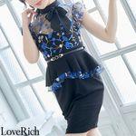 <Love Rich>花柄刺繍レース ペプラム リボンキャバドレス ミニドレス(ブラック)(衣装・コスチューム)