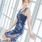 <Love Rich>花柄刺繍立体花ミニドレス スリットタイトキャバドレス(ネイビー)(衣装・コスチューム)