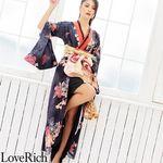 <Love Rich>着物ロングドレス 和柄花魁キャバドレス(ブラック)(衣装・コスチューム)
