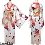 <Love Rich>着物ロングドレス 和柄花魁キャバドレス(ホワイト)(衣装・コスチューム)