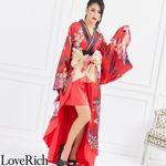<Love Rich>着物ロングドレス 和柄花魁キャバドレス(レッド)(衣装・コスチューム)