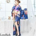 <Love Rich>着物ロングドレス 和柄花魁キャバドレス(ネイビー)(衣装・コスチューム)