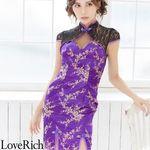 <Love Rich>小花柄レースチャイナドレス キャバドレス ミニドレス(パープル)(衣装・コスチューム)