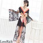 <Love Rich>透けレース豪華リボン花魁着物ロングドレス キャバドレス(ブラック)(衣装・コスチューム)