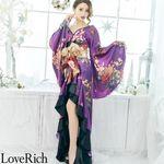 <Love Rich>フリル豪華花魁着物ドレス キャバドレス(パープル)(衣装・コスチューム)