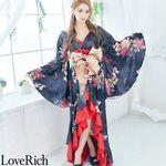 <Love Rich>フリル豪華花魁着物ドレス キャバドレス(ブラック)(衣装・コスチューム)
