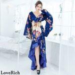 <Love Rich>フリル豪華花魁着物ドレス キャバドレス(ネイビー)(衣装・コスチューム)