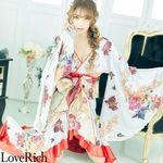 <Love Rich>フリル豪華花魁着物ドレス キャバドレス(ホワイト)(衣装・コスチューム)