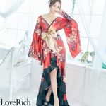 <Love Rich>フリル豪華花魁着物ドレス キャバドレス(レッド)(衣装・コスチューム)