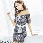 <Love Rich>総レースオフショルミニドレス チョーカーリボン タイトキャバドレス(グレー)(衣装・コスチューム)