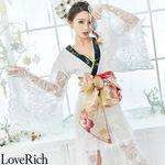 <Love Rich>スパンコールレース 豪華帯リボン着物ドレス キャバドレス(ホワイトブラック)(衣装・コスチューム)