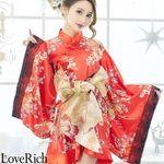 <Love Rich>豪華帯付きフリル着物ドレス(レッド)(衣装・コスチューム)
