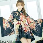 <Love Rich>豪華帯付きフリル着物ドレス(ブラック)(衣装・コスチューム)