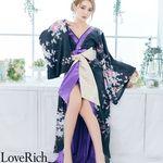 <Love Rich>花柄豪華着物ドレス キャバドレス(ブラックパープル)(衣装・コスチューム)