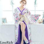 <Love Rich>花柄豪華着物ドレス キャバドレス(ホワイト)(衣装・コスチューム)