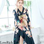 <Love Rich>花柄フリル豪華着物ドレス キャバドレス(ブラックオレンジ)(衣装・コスチューム)