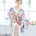 <Love Rich>花柄フリル豪華着物ドレス キャバドレス(ホワイトピンク)(衣装・コスチューム)