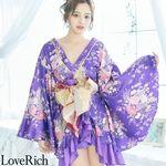 <Love Rich>豪華フリル着物ドレスト キャバドレス(パープル)(衣装・コスチューム)
