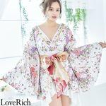 <Love Rich>豪華フリル着物ドレスト キャバドレス(ホワイト)(衣装・コスチューム)