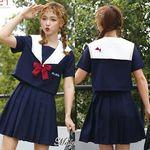 <malymoon>赤リボンの可愛い半袖紺セーラー(衣装・コスチューム)