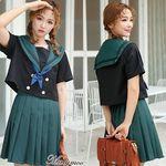 <malymoon>リボン付き・緑×濃紺の半袖セーラー服(衣装・コスチューム)