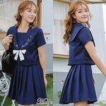 <malymoon>ナチュラルデザインの清楚系半袖セーラー服(紺)(衣装・コスチューム)
